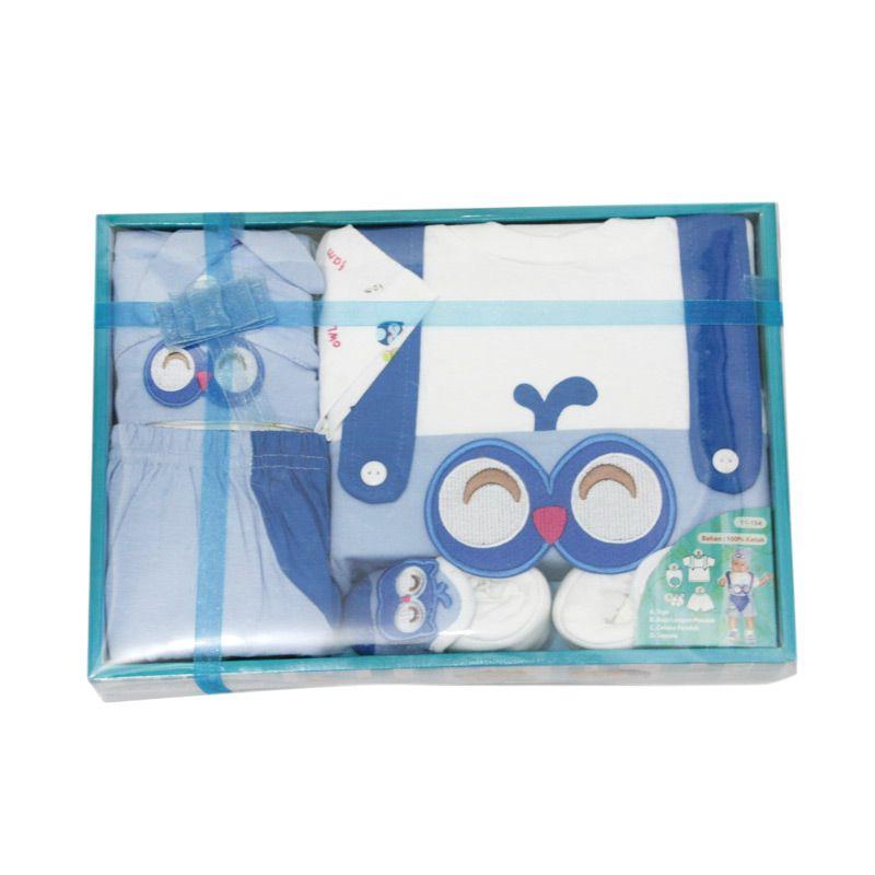 Nathanie Baby Owl Blue Setelan Baju Bayi [Gift Set]