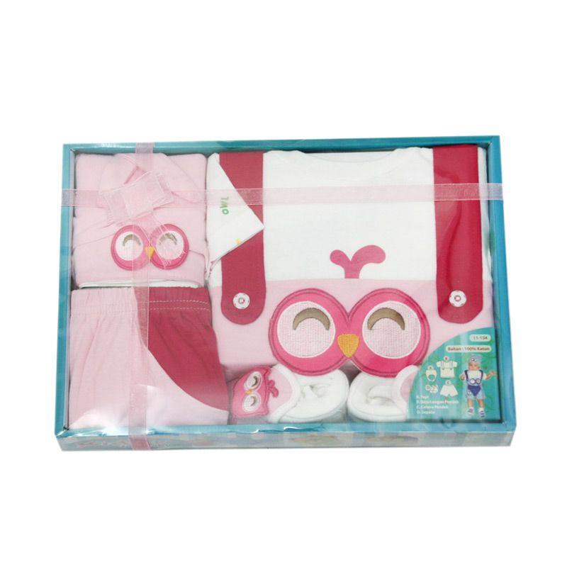 Nathanie Baby Owl Pink Setelan Baju Bayi [Gift Set ]