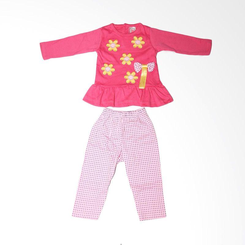 Nathanie Baby Peplum Flower Pink Fanta Setelan Bayi