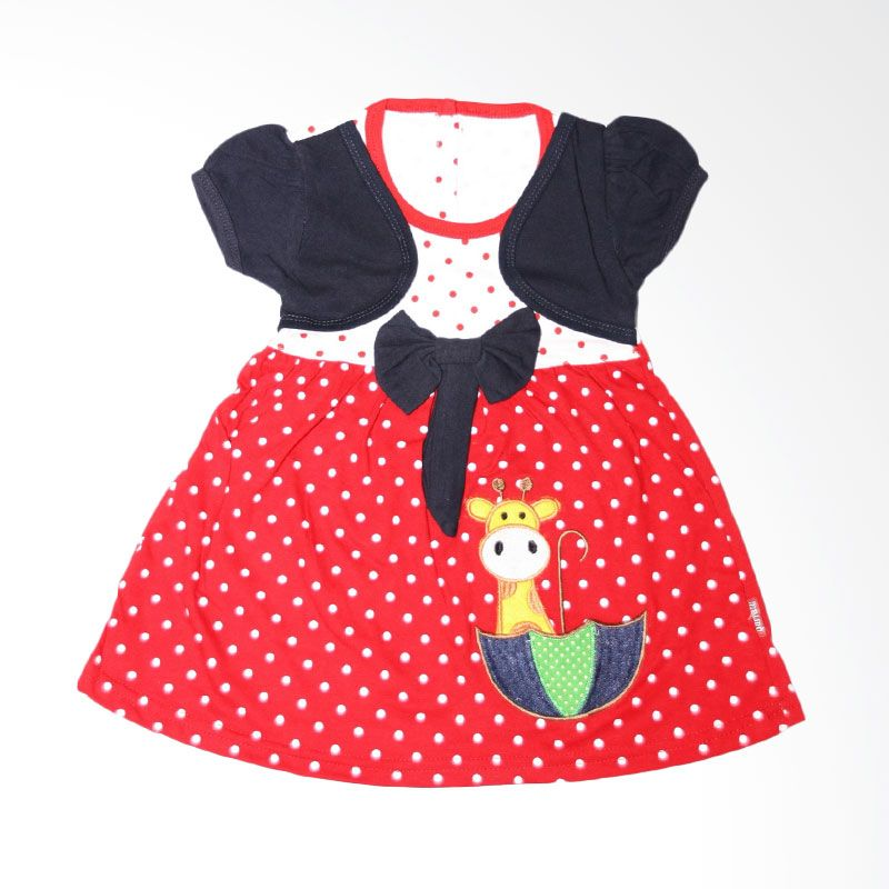 Nathanie Baby Polka Giraffe Navy Dress Bayi