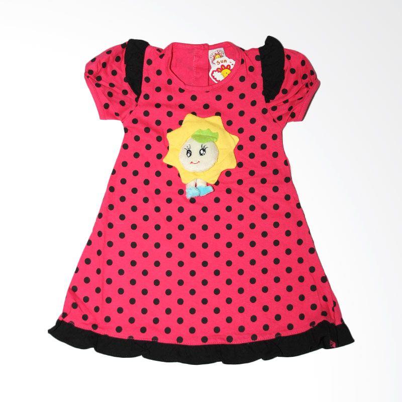 Nathanie Baby Polka Sunshine Pink Dress Bayi