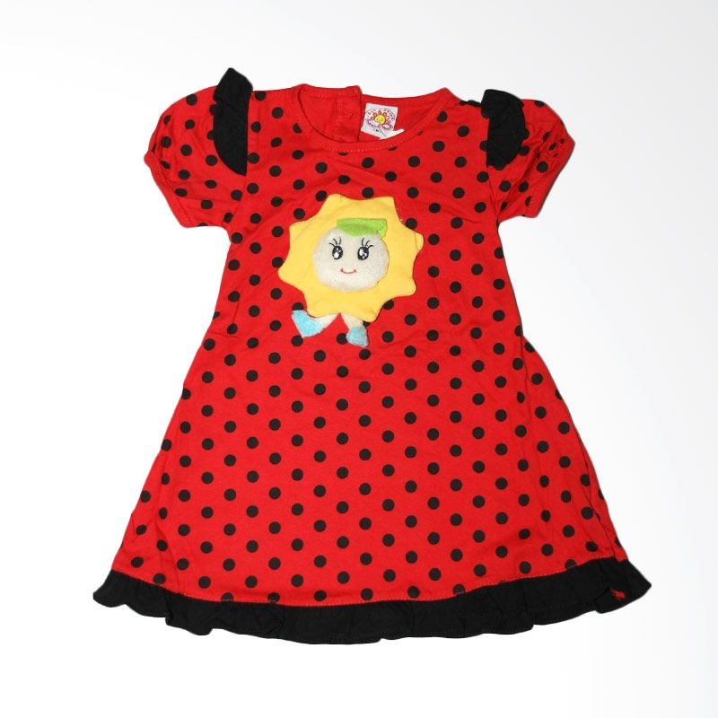 Nathanie Baby Polka Sunshine Red Dress Bayi