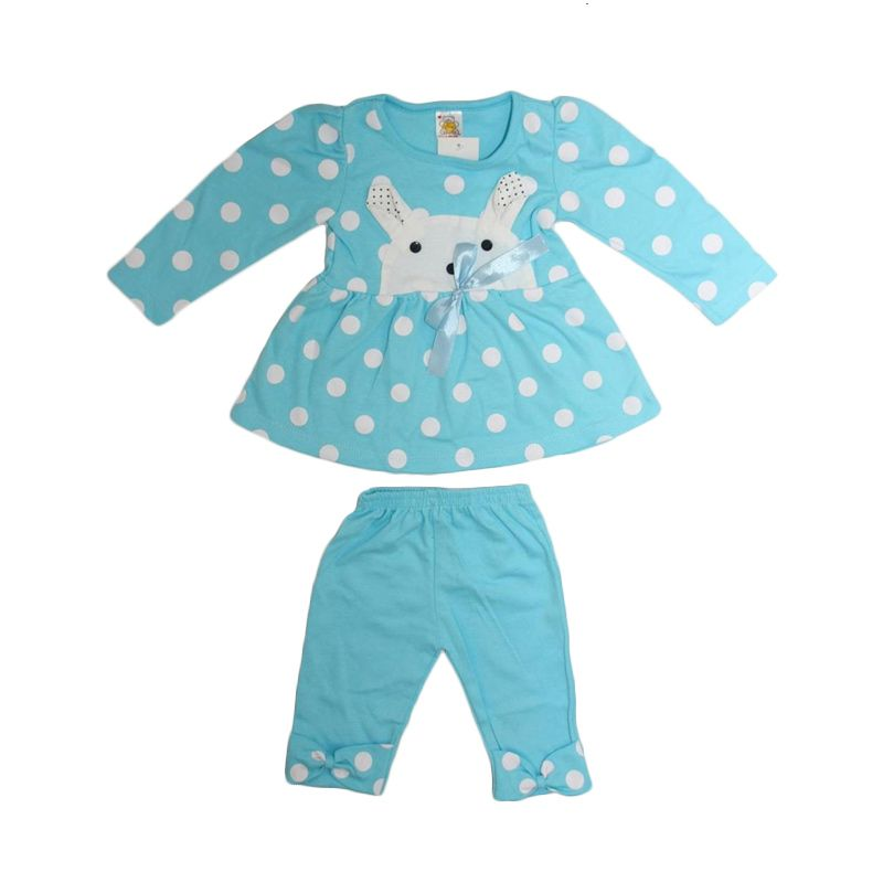 Nathanie Baby Rabbit Polka Shirt Pant Blue Setelan Anak Perempuan