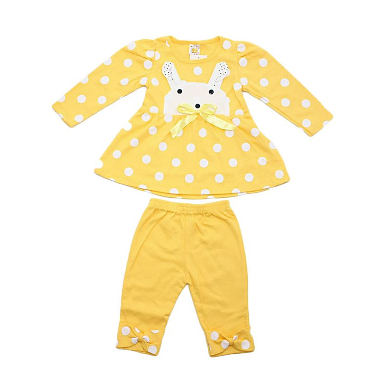 Nathanie Baby Rabbit Polka Shirt Pant Yellow Setelan Anak Perempuan