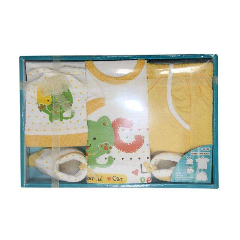 Nathanie Cheerful Cat Baby Set Yellow Pakaian Anak [Gift Set]