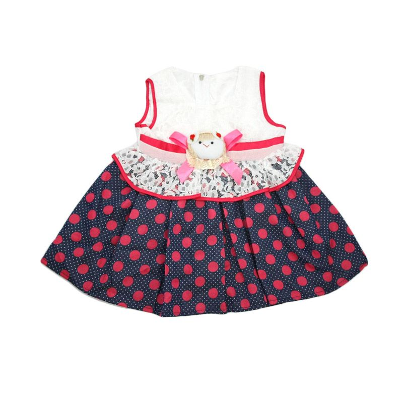 Nathanie Cute Baby Polka Pink Dress Anak