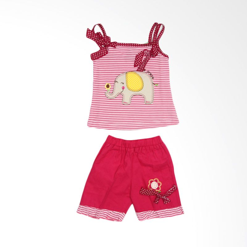 Nathanie Elephant Pink Setelan Bayi