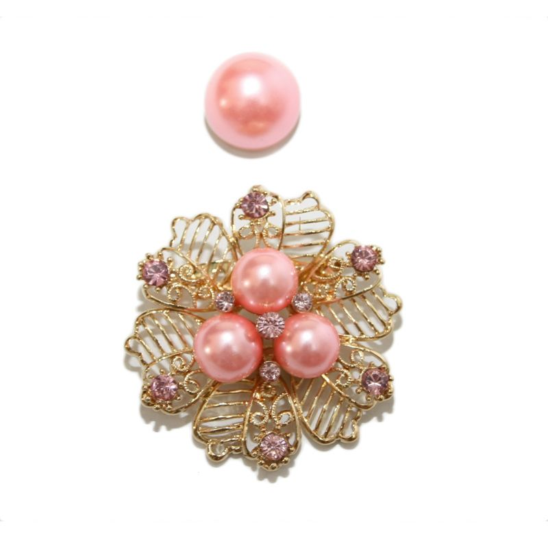 Nathanie Pearl Flower Gold Pink Bros