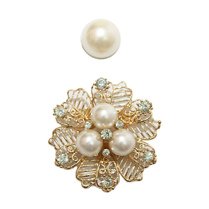 Nathanie Pearl Flower Gold White Bros