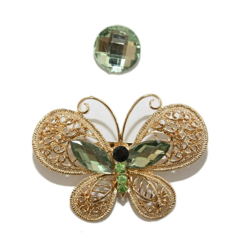 Nathanie Zircon Butterfly Gold Green Bros