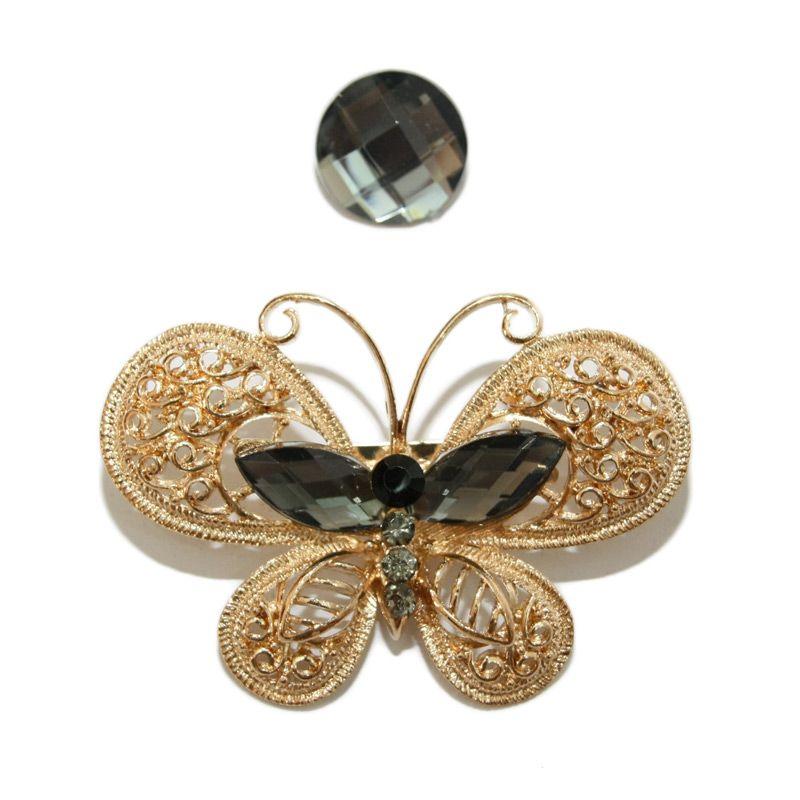 Nathanie Zircon Butterfly Gold Grey Bros