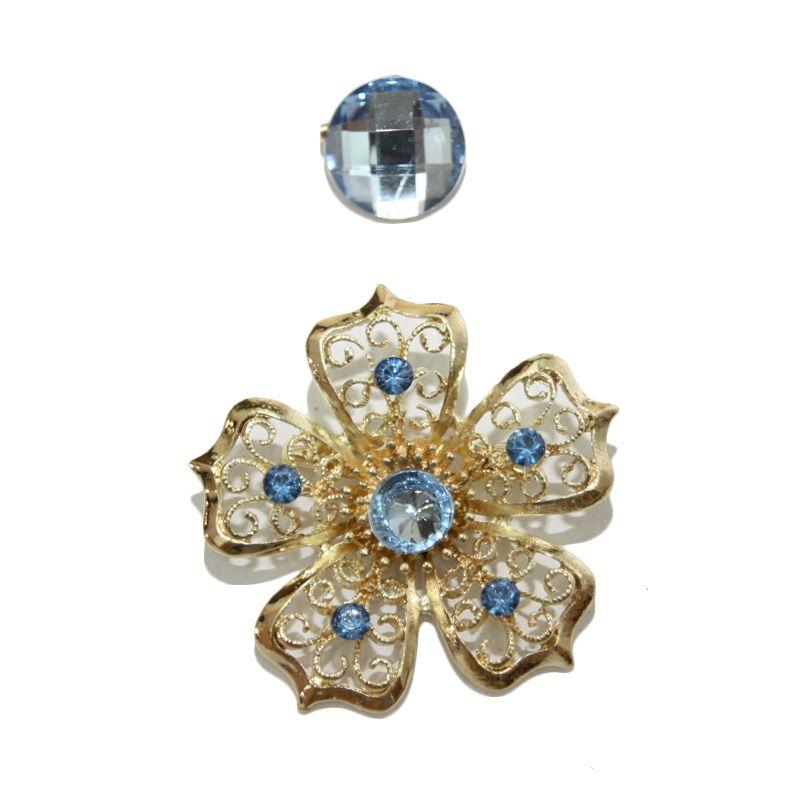 Nathanie Zircon Flower Blue Bros