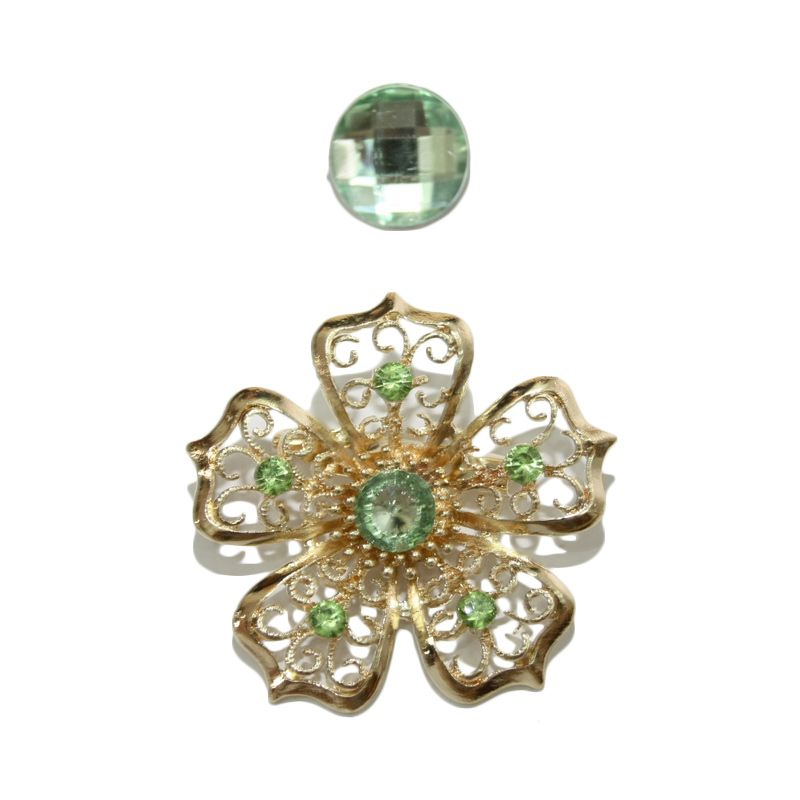 Nathanie Zircon Flower Green Bros