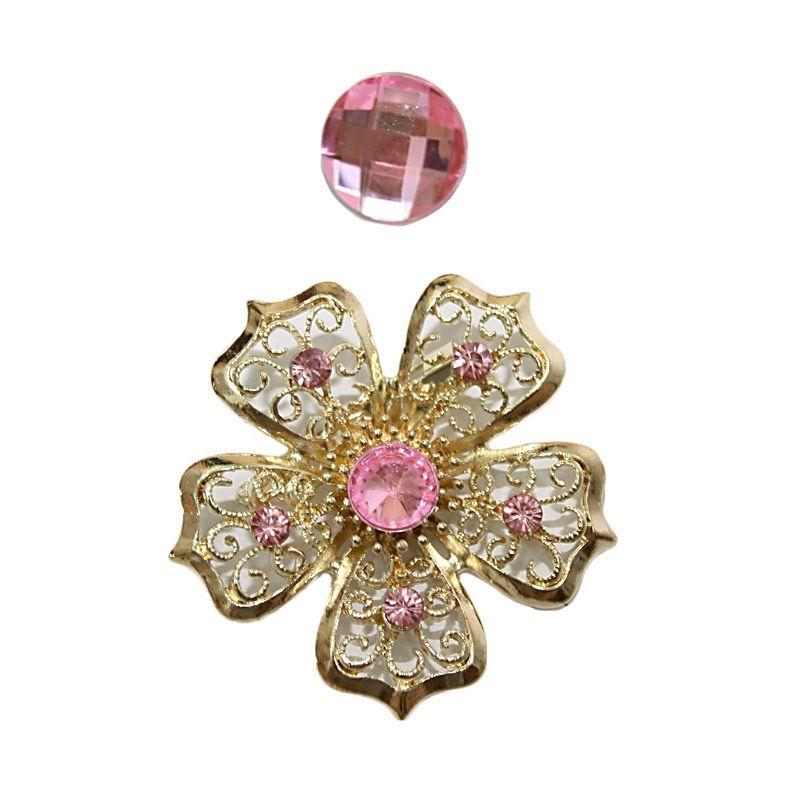 Nathanie Zircon Flower Pink Bros