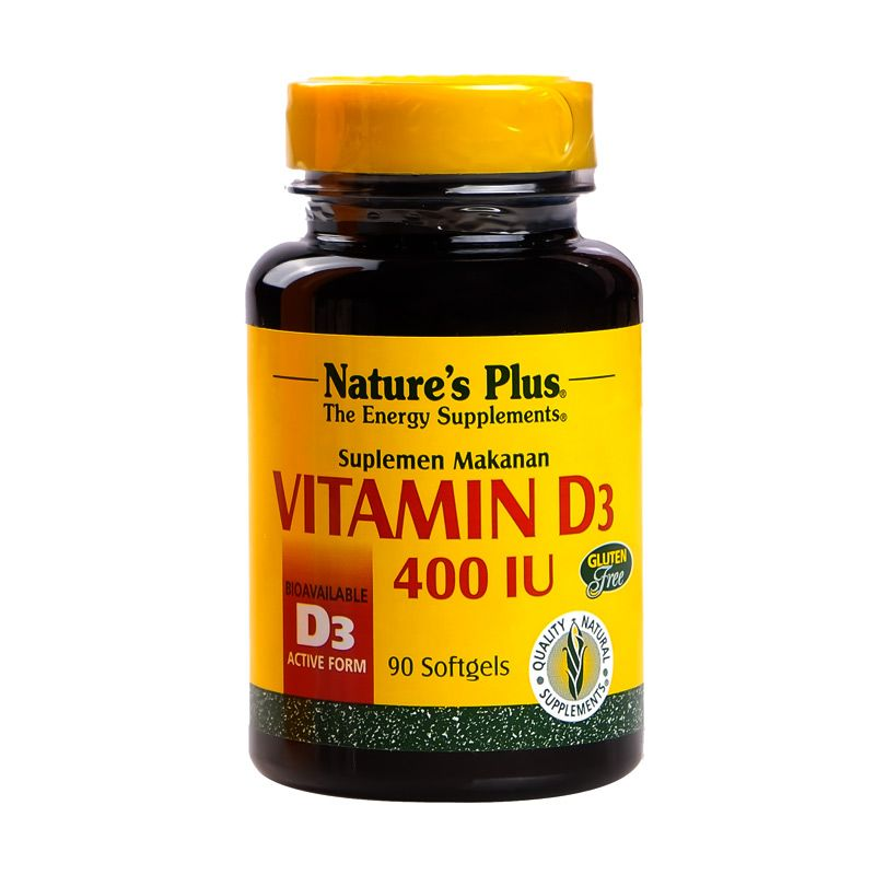 Nature's Plus Vitamin D3 - 400 IU Multivitamin dan Suplemen [90 Softgel]