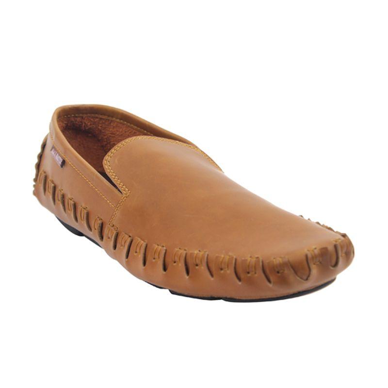 Black Master Flat Slip On Aligator Brown Sepatu Pria
