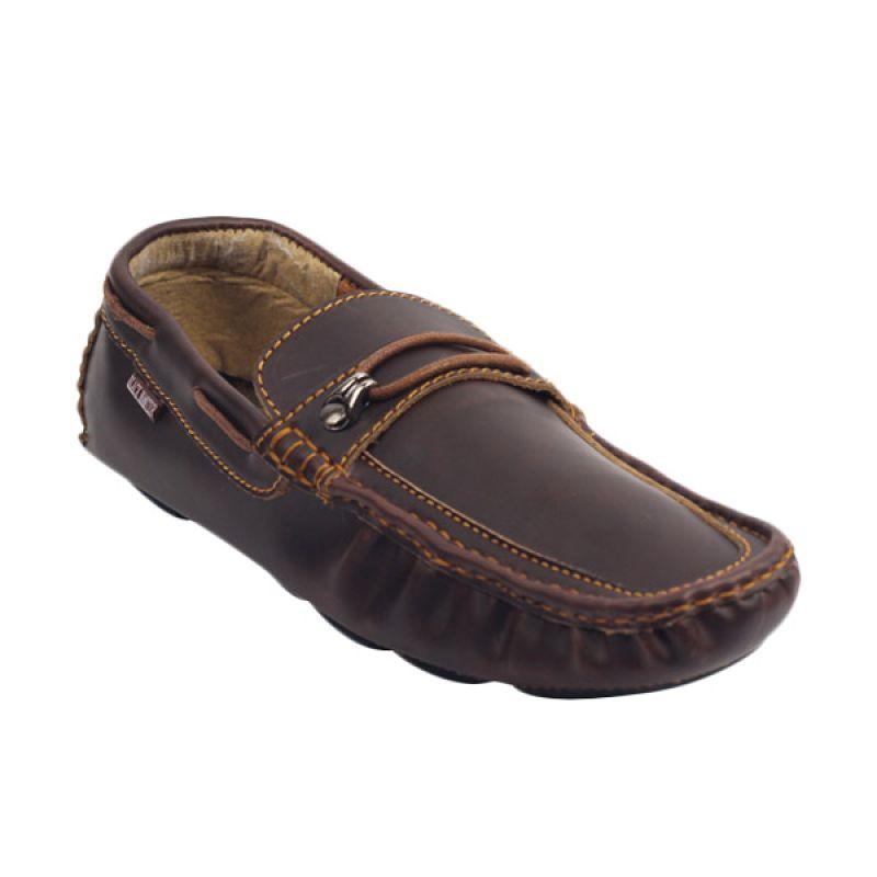 Black Master Flat Slip On Crocodile Dark Brown Sepatu Pria