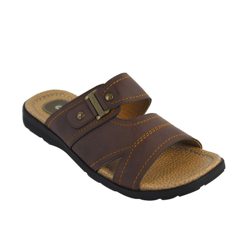 Catenzo Crocodile Brown Sandal Pria