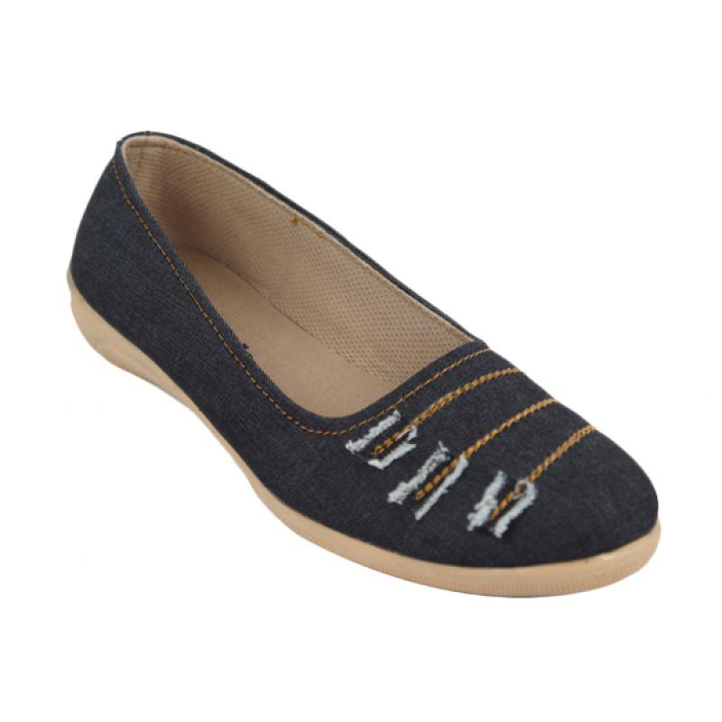 Catenzo Flat Scratch Denim Blue Sepatu Wanita