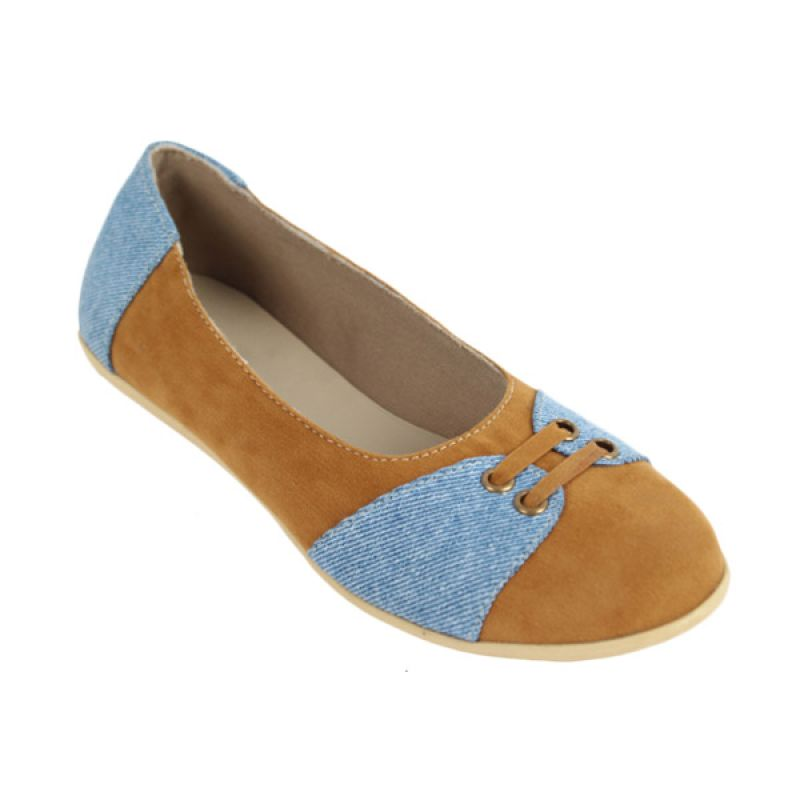 Catenzo Flat Blue Tane Sepatu Flat wanita