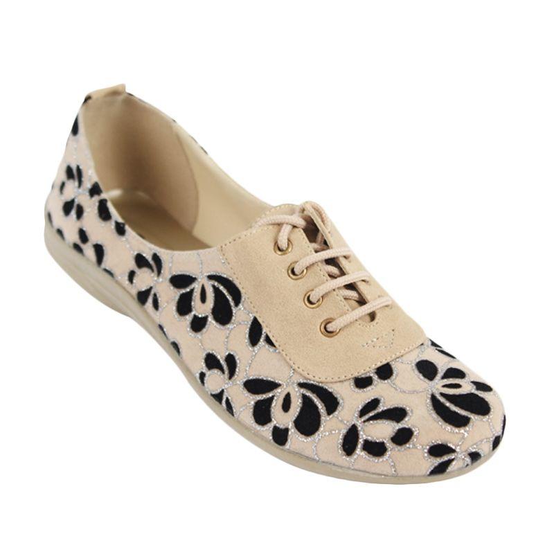 Catenzo Flat Cream Flower Sepatu Wanita