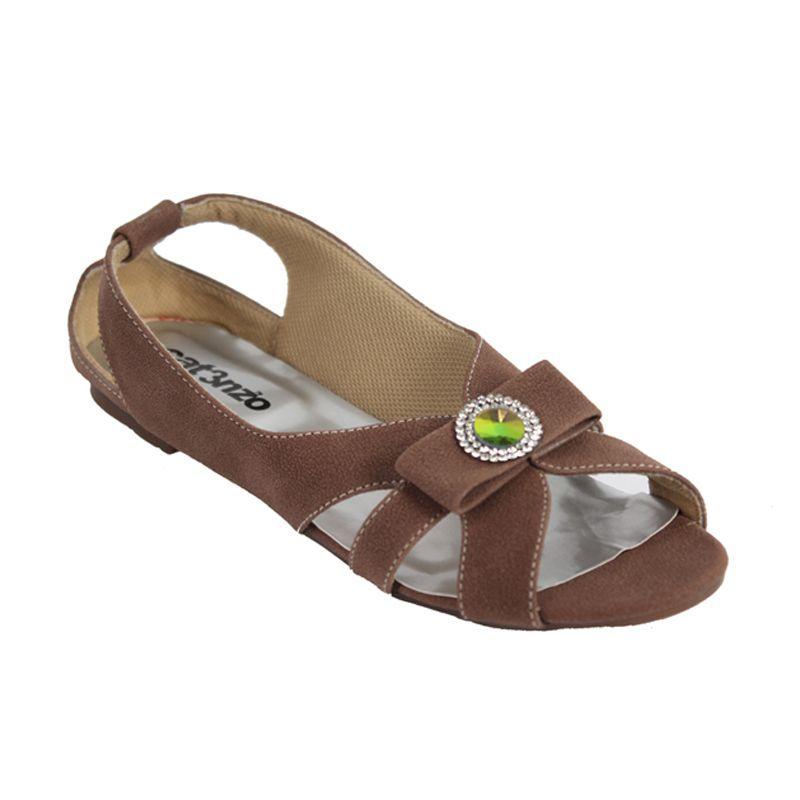 Catenzo Flat Midle Flower Brown Sepatu Wanita
