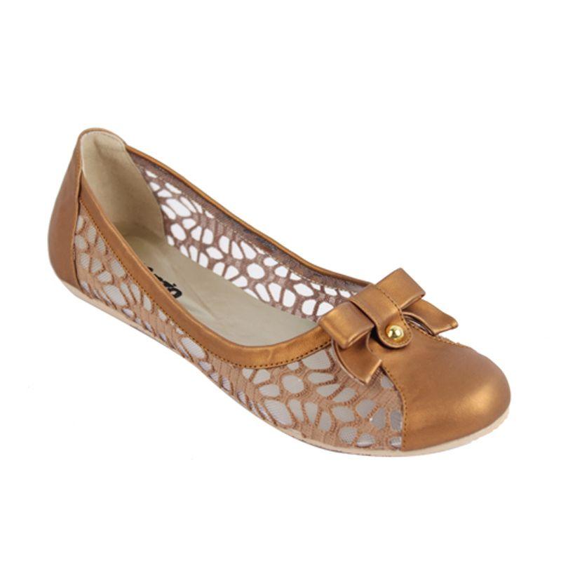 Catenzo Flat Netsh Brown Sepatu Wanita