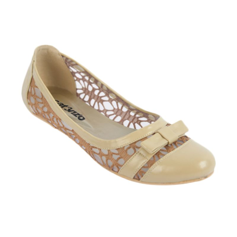 Catenzo Flat Netsh Cream Sepatu Wanita