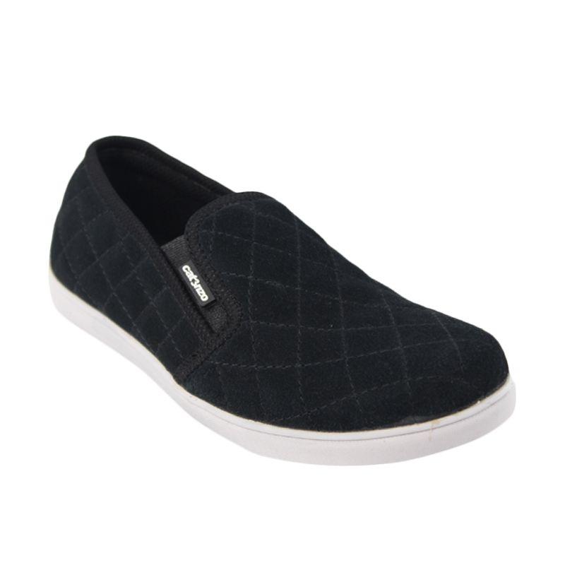 Catenzo Flat Slip On Simple Black Sepatu Pria