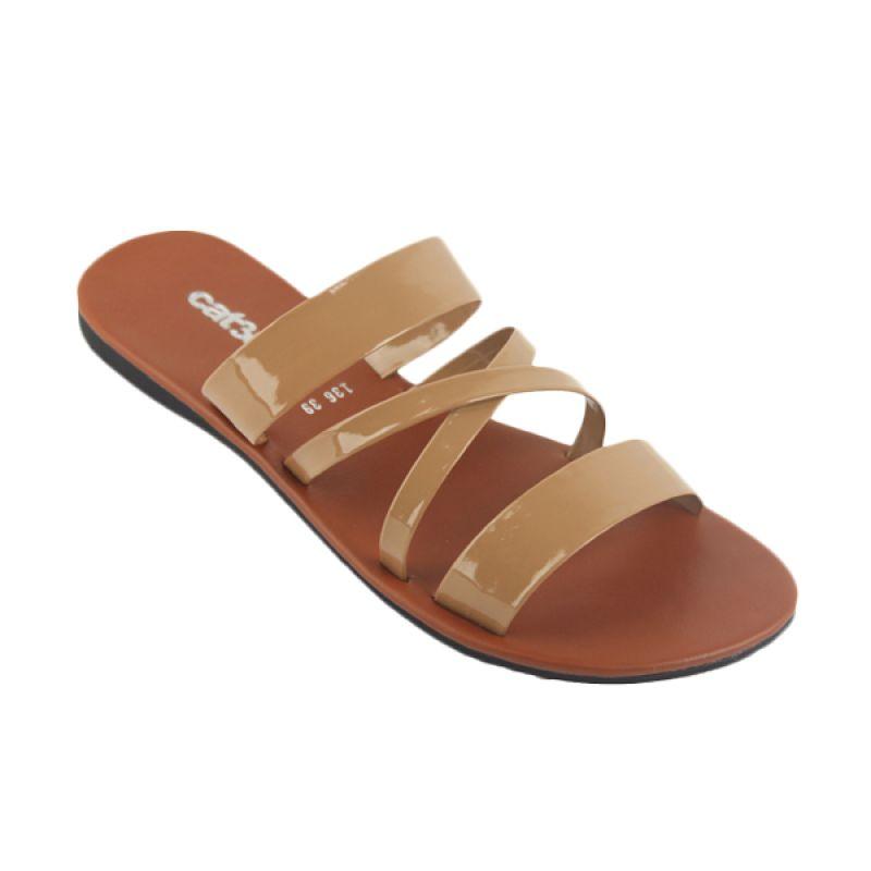 Catenzo Flat Slop Brown Sandal Wanita