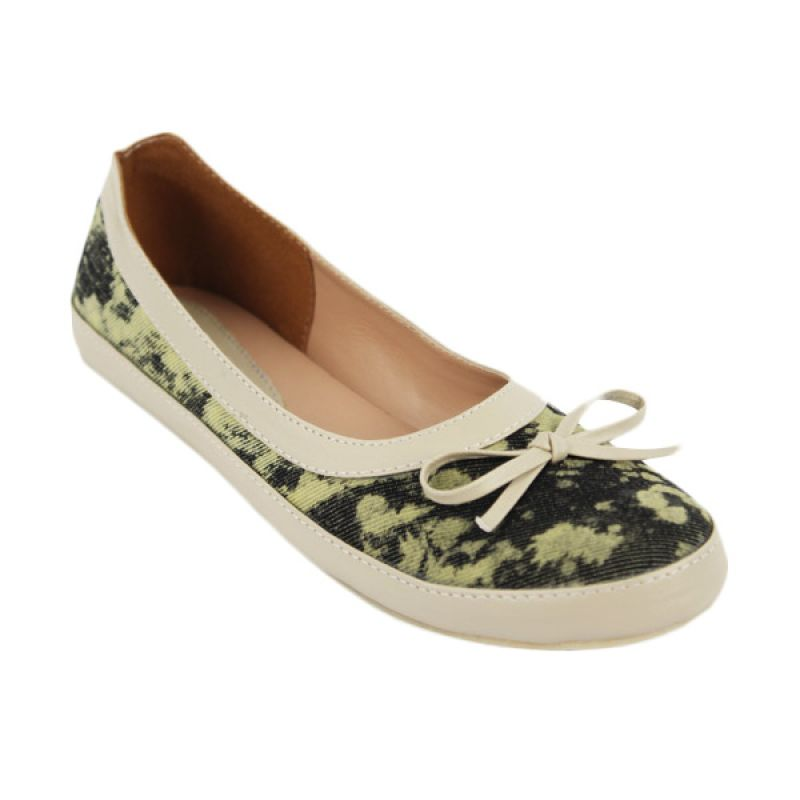 Catenzo Flat White Rope Denim Sepatu Flat Wanita