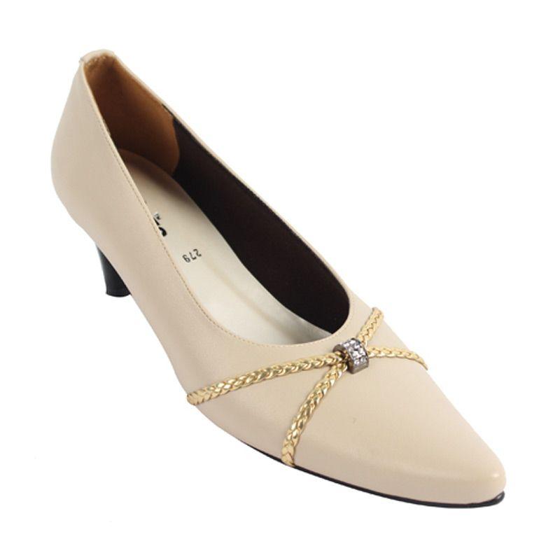 Catenzo Heels Cream Snap Sepatu wanita