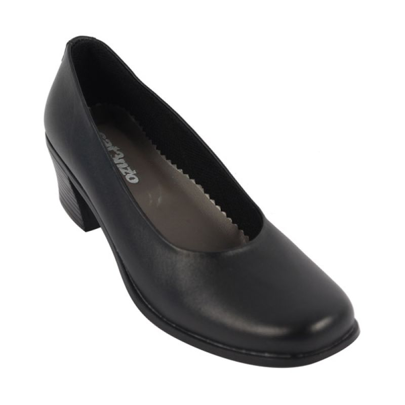 Catenzo Heels Leather Dress Black Sepatu Wanita