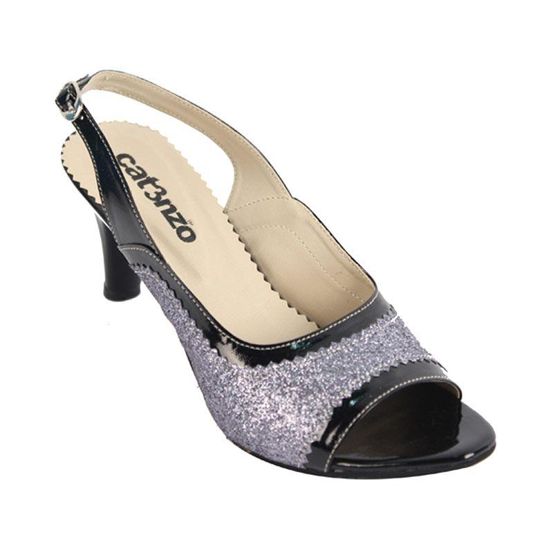 Catenzo Heels Silver Black Sepatu Wanita