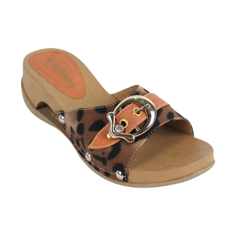Catenzo Jungle Cat Brown Sandal Wedges