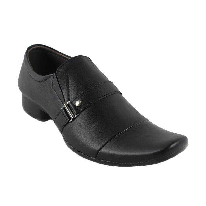 Catenzo Leather Casual Black Sepatu Pantofel Pria
