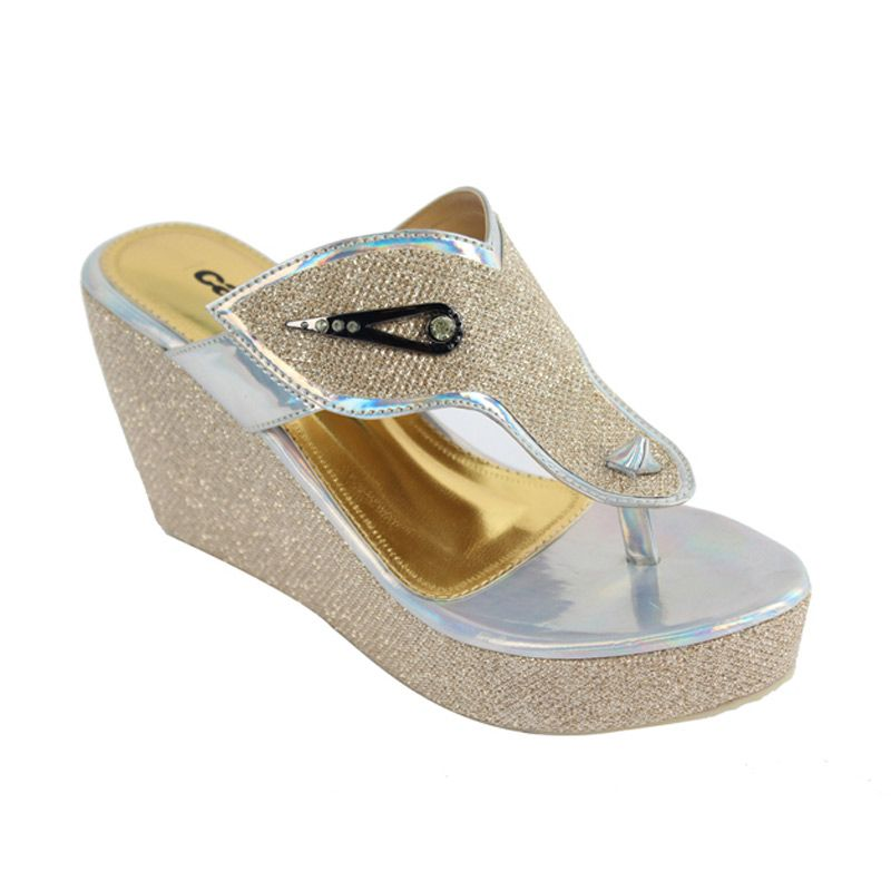 Catenzo Wedges Gold Rainbow Sandal Wanita