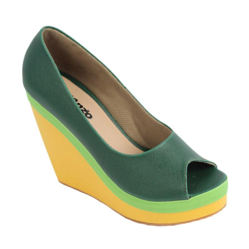 Catenzo Wedges High Yellow Green Sepatu Wanita