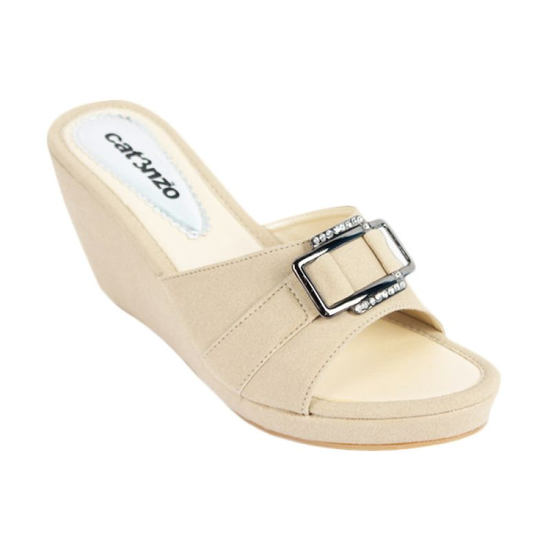 Catenzo Wedges Milk Cream Sandal Wanita