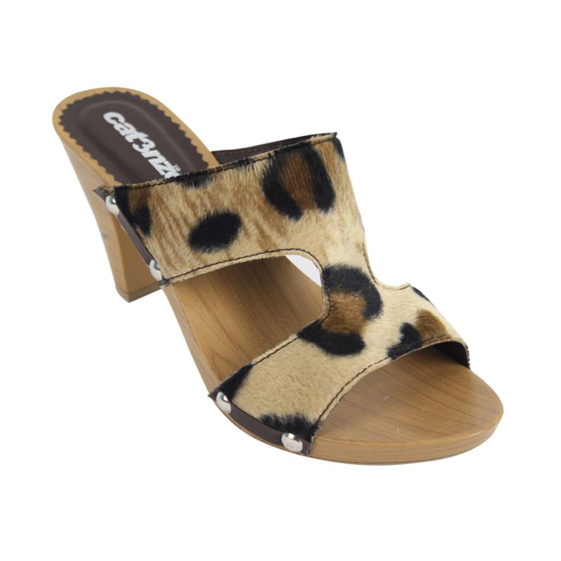 Catenzo Wedges Tiger Brown Sandal Wanita