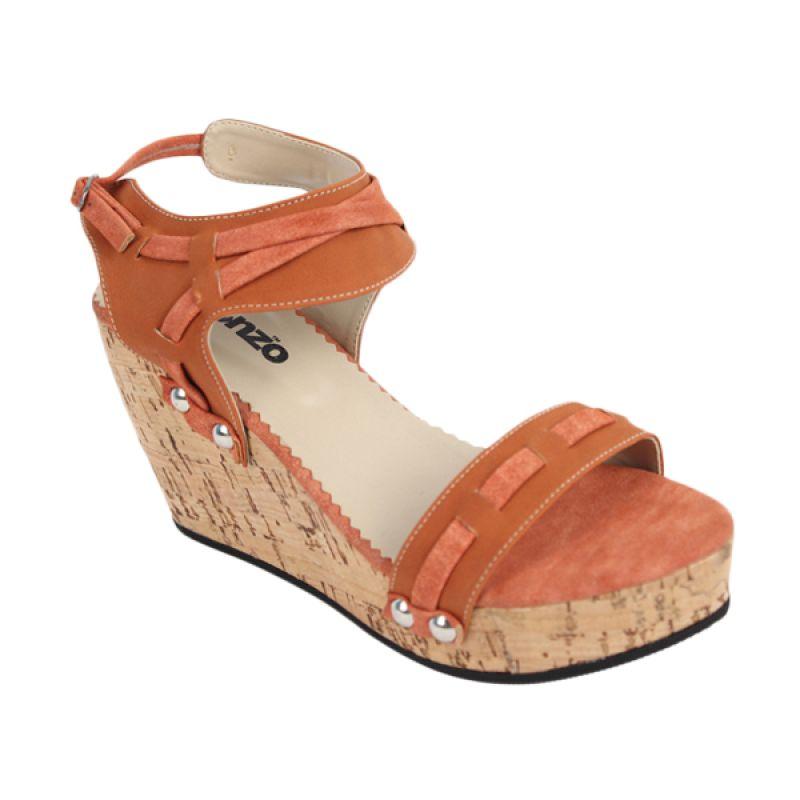 Catenzo Wedges Woody Orange Brown Sepatu Wanita