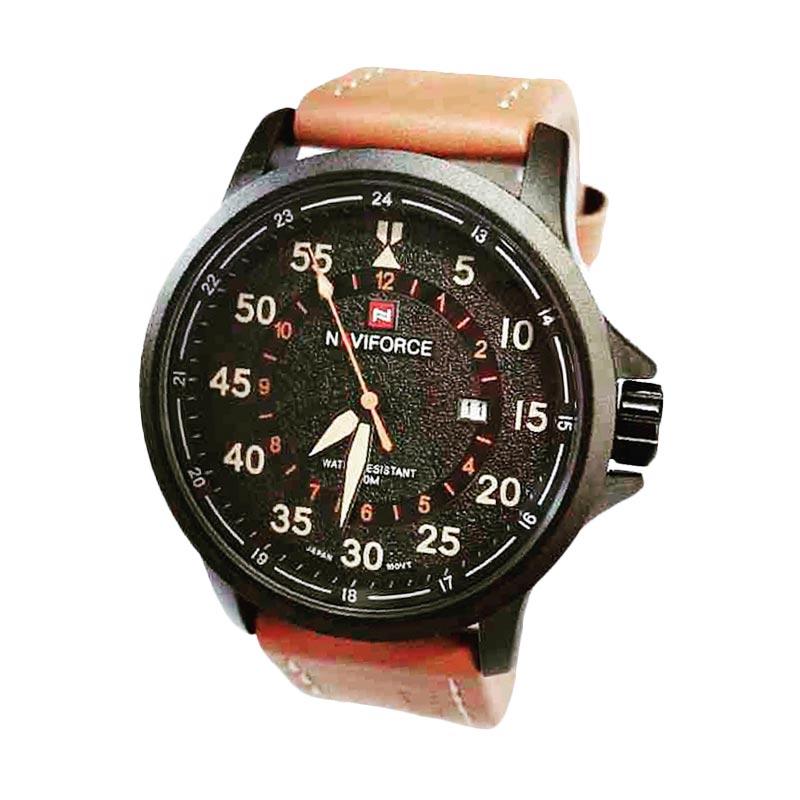 Naviforce NF9076 Leather Strap Jam Tangan Kasual Pria - Dark Brown