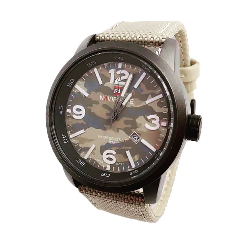 Naviforce NF 9080 CR Kanvas Strap Jam Tangan Fashion Pria - Cream Loreng