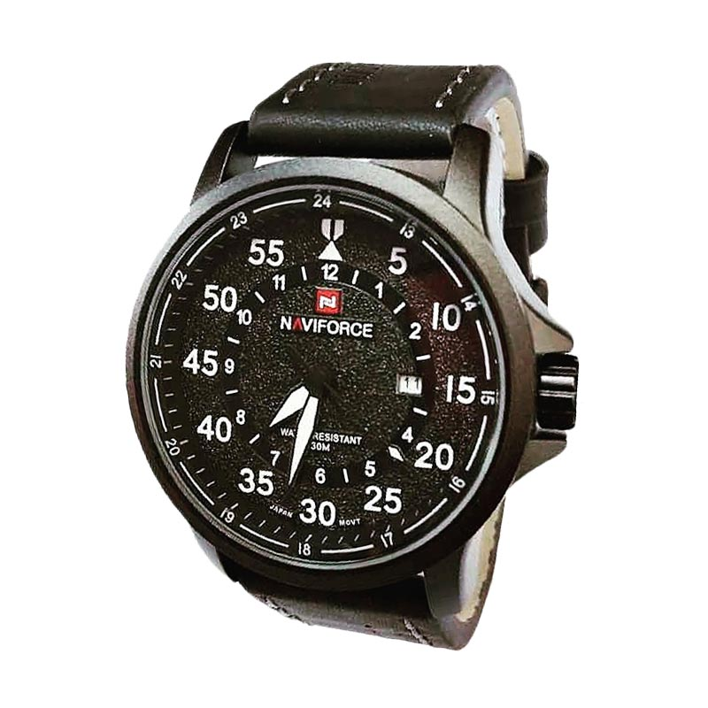 Naviforce NF9076 Leather Strap Jam Tangan Kasual Pria - Black White