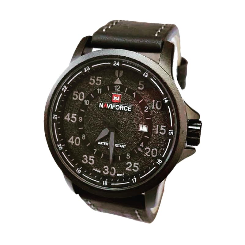 Naviforce NF9076 Leather Strap Jam Tangan Kasual Pria - Black