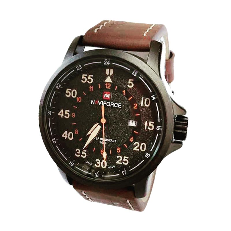 Naviforce NF9076 Leather Strap Jam Tangan Kasual Pria - Dark Brown