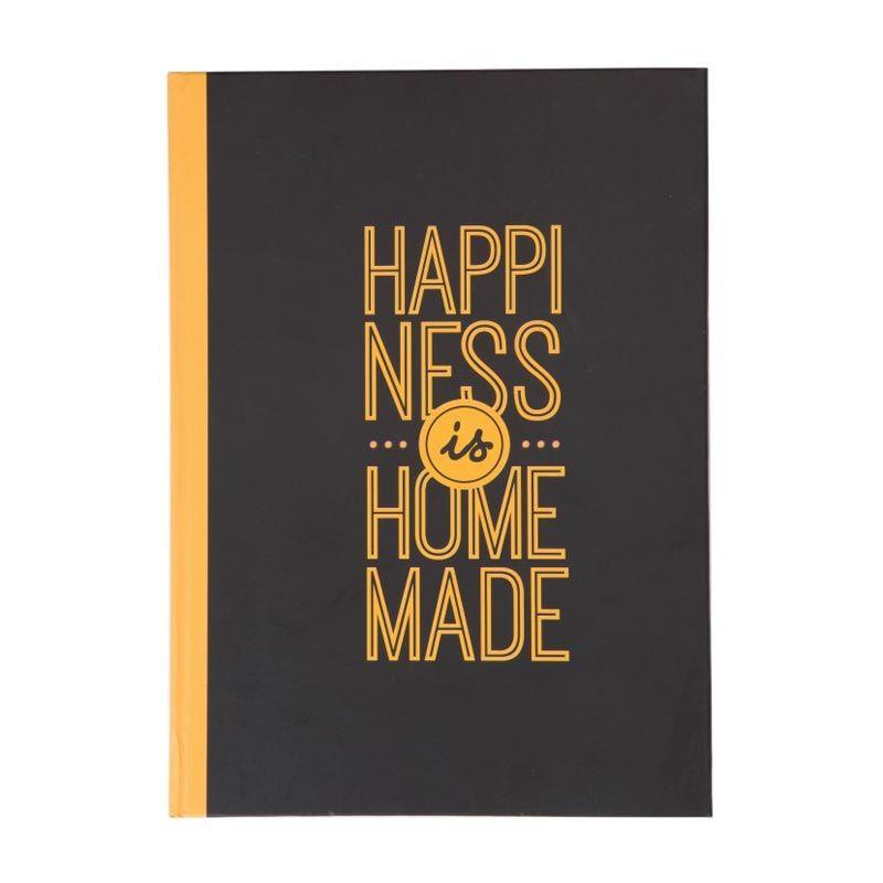 Insight-Unlimited Happiness is Homemade Hitam Kuning Buku Catatan