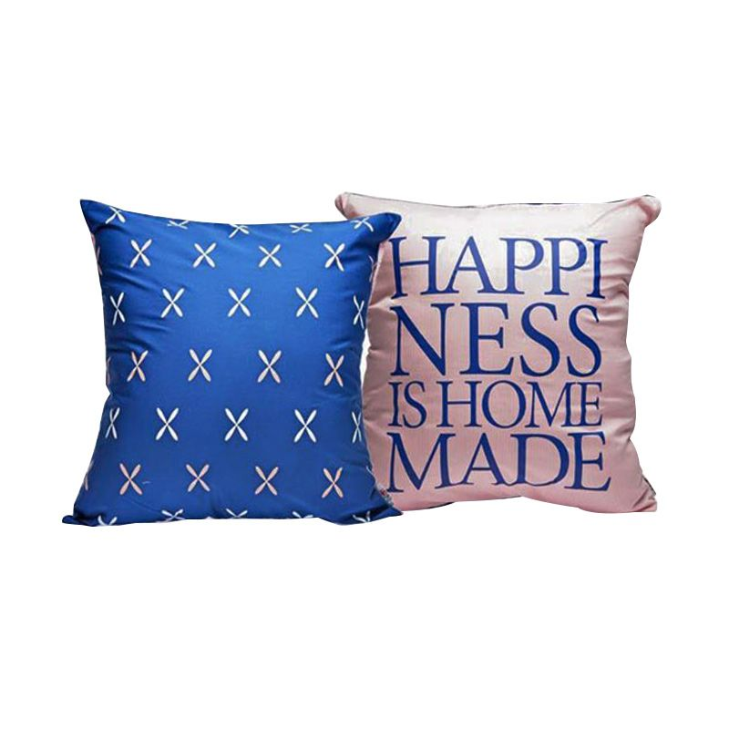 Insight-Unlimited Happiness is Homemade Pink Biru Sarung Bantal
