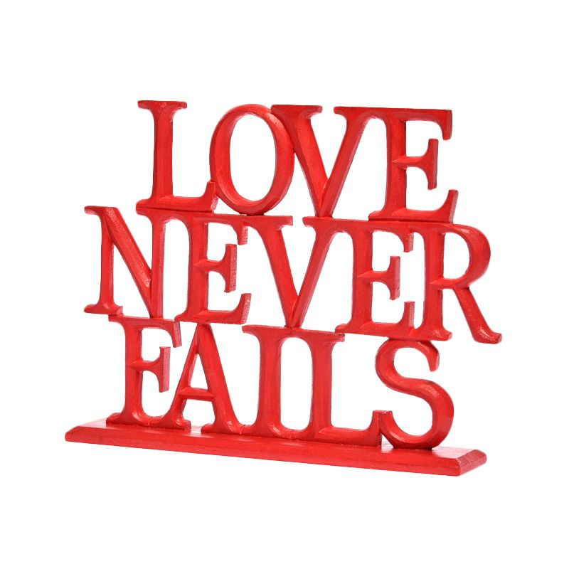 Insight-Unlimited Love Never Fails Merah Sign Stand Pajangan