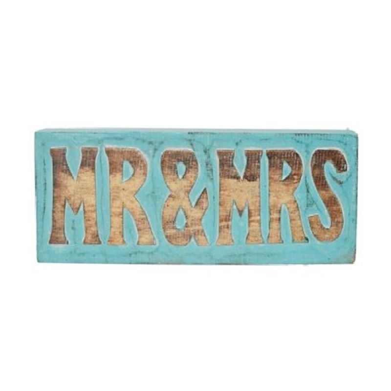 Insight-Unlimited Mr and Mrs Wooden Blocks Pajangan